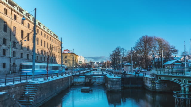 Gothenburg City Canal Winter Time-lapse