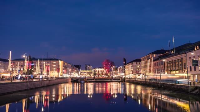 Invierno centro de la ciudad de Gotemburgo Time-lapse