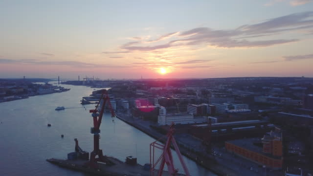 Gothenburg city, Sweden Aerial shot at Sunset