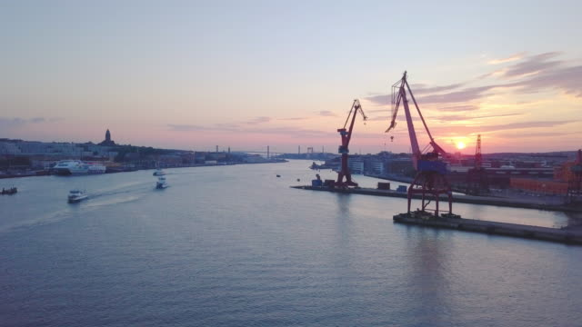 gothenburg city, sweden aerial shot at sunset - pier stock videos & royalty-free footage