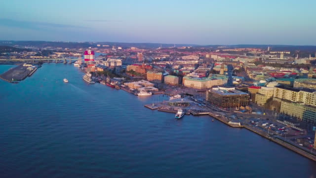 gothenburg city, sweden aerial shot at sunset - harbor stock videos & royalty-free footage