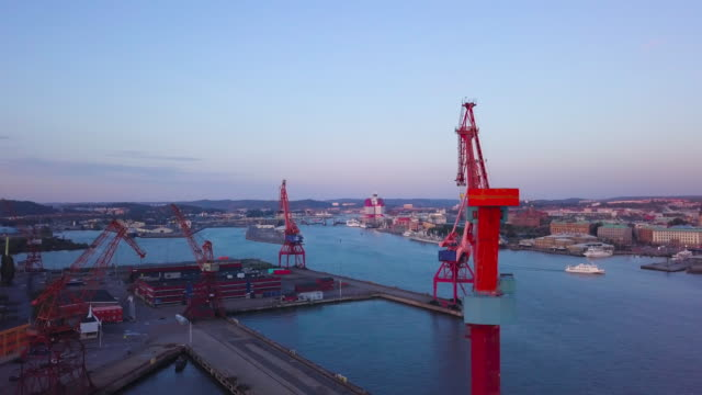 gothenburg city, sweden aerial shot at sunset - shipyard stock videos & royalty-free footage