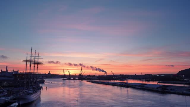Gothenburg harbour sunset in Sweden