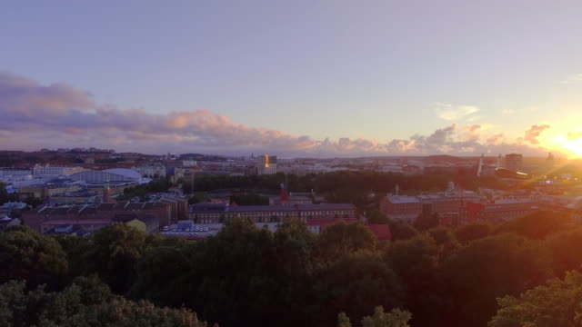 Gothenburg Sweden Aerial View over City in Sunset