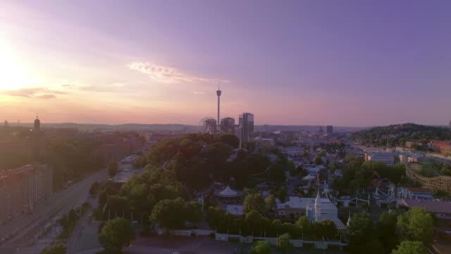 Göteborg Sverige Flygfoto över staden i solnedgång