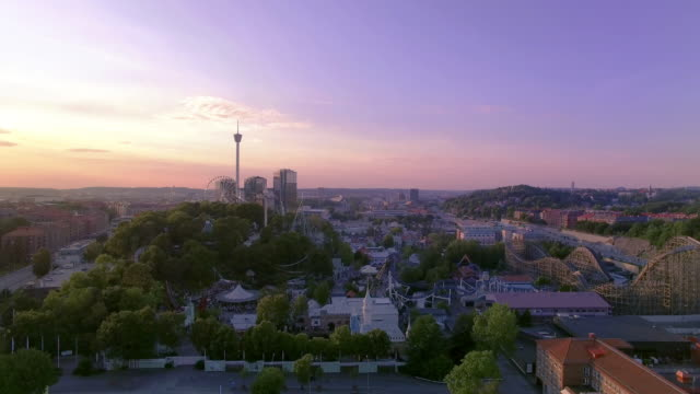 gothenburg sweden aerial view over city in sunset - famous place stock videos & royalty-free footage