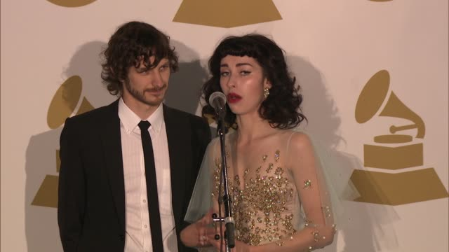 gotye, kimbra on their music. at the 55th annual grammy awards - press room 2/10/2013 in los angeles, ca. - grammy awards stock videos & royalty-free footage