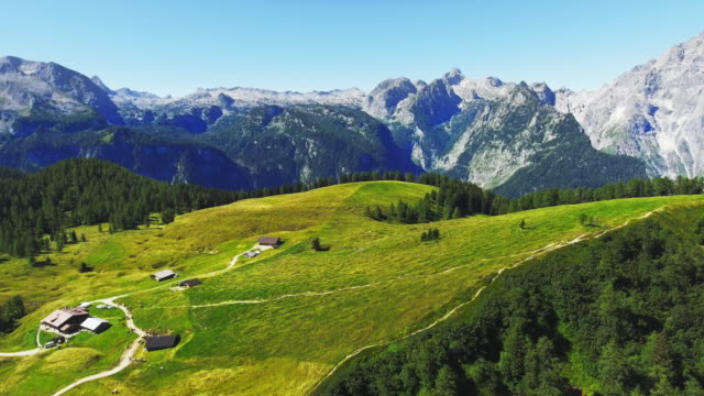 gotzenalm mountain pasture in the berchtesgaden alps - baviera video stock e b–roll