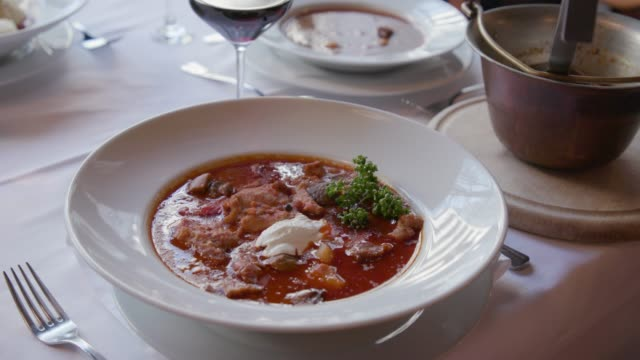 goulash and stew served on the table - traditionally hungarian stock videos & royalty-free footage