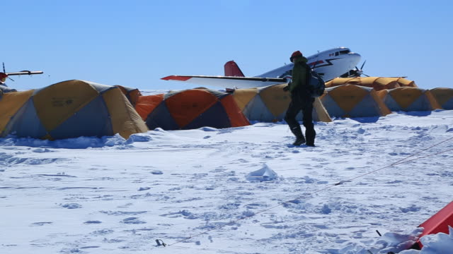 gould bay camp with airplanes and tents and tourists/scientists, pan to emperor penguins (aptenodytes fosteri) - antarctica scientist stock videos & royalty-free footage