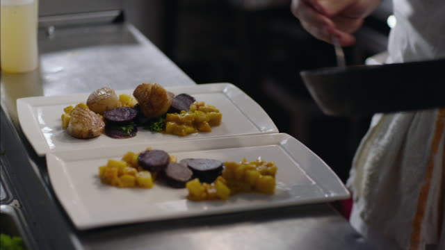 gourmet chef serves pan-seared sea scallops on plate of butternut squash and purple potatoes in restaurant kitchen - gourmet küche stock-videos und b-roll-filmmaterial