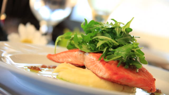 gourmet salmon entree - food styling stock videos & royalty-free footage