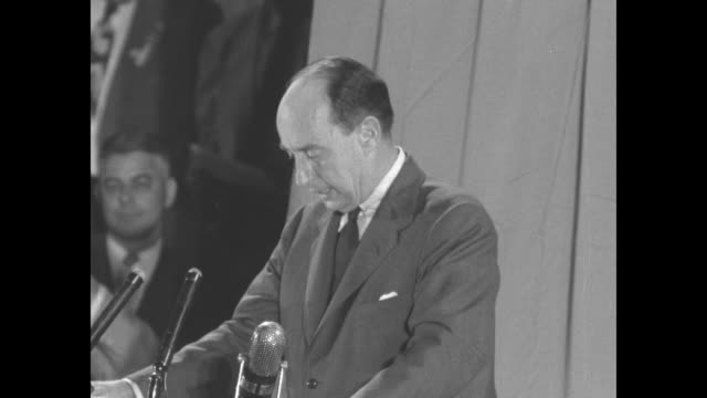 vidéos et rushes de sot gov adlai stevenson calls for government to cut nonessential expenditures to bare bones every dollar it spends it must spend every penny as... - adlai stevenson