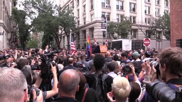 gov cuomo speaks to thousands gathered at stonewall to honor victims of orlando shooting talks gun control and gay pride parade - stone wall stock videos & royalty-free footage