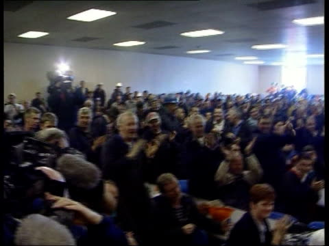 Glasgow Govan INT Champagne sprayed at meeting of workers at the Kvaerner Govan shipyard after news that jobs will be saved following proposed...