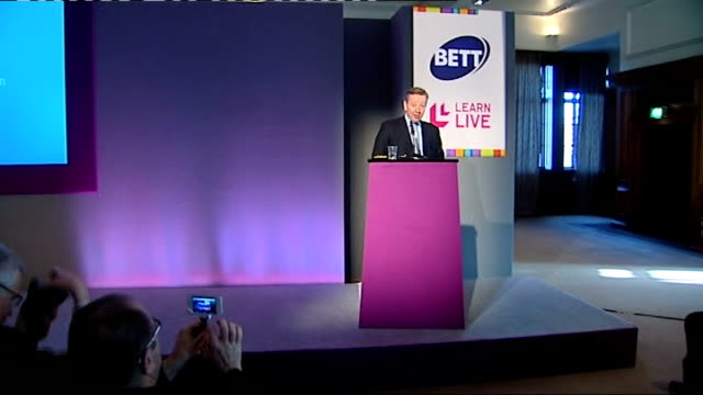 Gove speech ENGLAND London INT Michael Gove MP sitting on platform and to podium Michael Gove MP speech SOT Thank you very much Dominic for that kind...