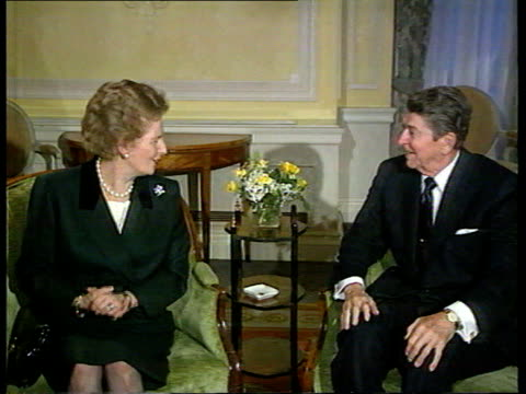 government angered over gerry adams visit to united states t06129010 / tx former us president ronald reagan meeting former british prime minister... - margaret thatcher stock videos & royalty-free footage