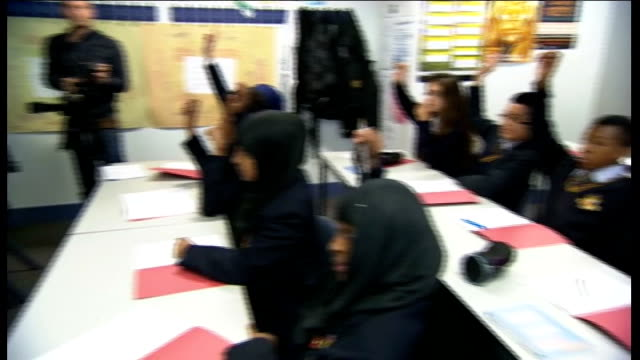 Baccalaureate to replace GCSEs ENGLAND London Hammersmith Burlington Danes Academy INT Nick Clegg MP and Michael Gove MP in classroom with pupils...
