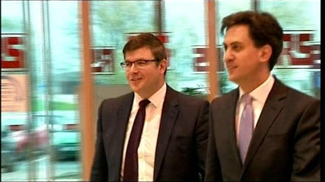 Government announces 15 billion pound spending plan for roads Northamptonshire Corby RS Components PHOTOGRAPHY*** Ed Miliband MP along into company...