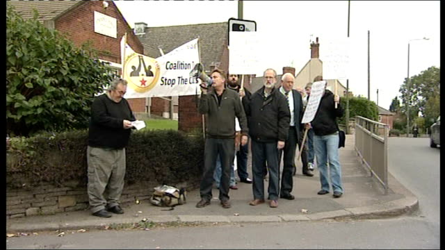 Government announces 'Fairness Premium' Derbyshire Chesterfield Protestors demonstrating against government spending cuts demosntrate in street...
