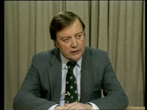 government announces intention to reprivatize british steel england london department of trade and industry kenneth clarke mp seated at pkf table as... - kenneth clarke stock-videos und b-roll-filmmaterial