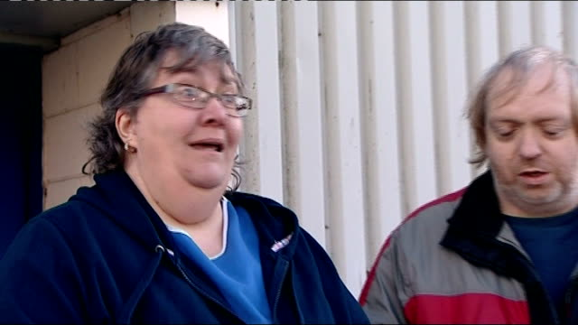 government announces remploy factories to close jobs for disabled in jeopardy wales bridgend ext workers leaving remploy factory julie griffiths... - ローラ・クエンスバーグ点の映像素材/bロール