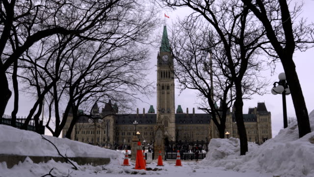 government building on parliament hill in ottawa - parliament hill stock videos & royalty-free footage