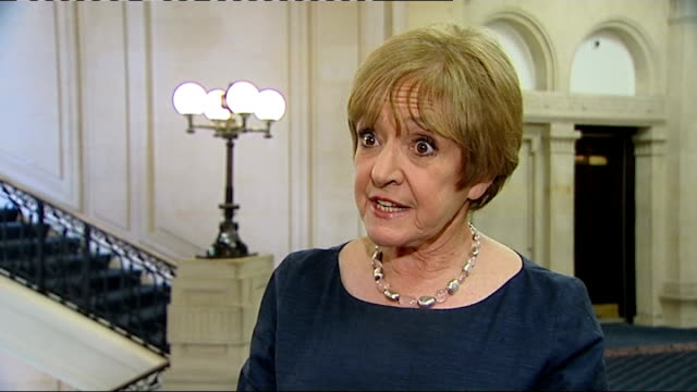 government cancels contract with welfaretowork firm a4e england london int margaret hodge mp interview sot - マーガレット・ホッジ点の映像素材/bロール
