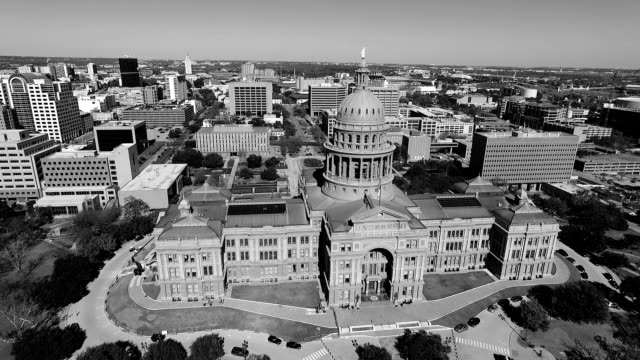 Government Center Black and white Aerial View Looking Down on Texas State Capitol Building Sunny Day in Austin , Texas