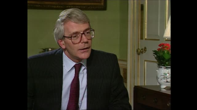 stockvideo's en b-roll-footage met john major interview / bastards comments england london westminster downing street no 10 int john major mp answers for interview with michael brunson... - politics