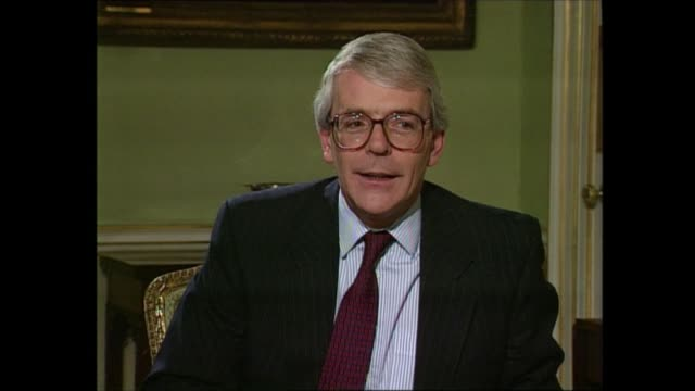 stockvideo's en b-roll-footage met john major interview / bastards comments england london westminster downing street no 10 end of interview john major michael brunson continue... - politics