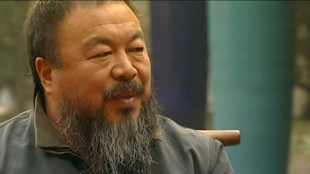 Government confirms detention of artist Ai Weiwei November 2010 Beijing Sculpture in corner of studio PAN reporter with Weiwei Framed photograph PULL...