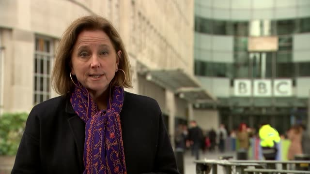 government considers decriminalising nonpayment of tv license fee england londn westminster bbc broadcasting house ext reporter to camera steven... - jackie long stock videos & royalty-free footage