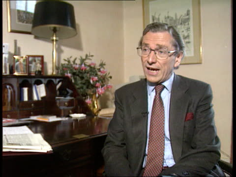 government deny cabinet split over europe / john major interview leak; itn england: london: int cms sir norman fowler mp intvwd sot - it was a... - mp stock-videos und b-roll-filmmaterial