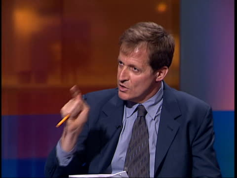 government dossier: campbell/bbc row; cms alastair campbell interview sot - denies government abused british intelligence campbell sat with channel 4... - file stock videos & royalty-free footage