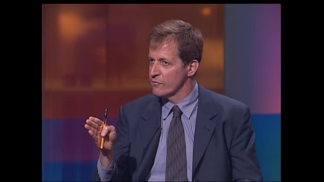 campbell/bbc row england london gir alastair campbell interviewed sot first dossier in september there were serious errors of fact what were they jon... - jon snow journalist stock-videos und b-roll-filmmaterial
