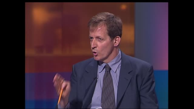campbell/bbc row; england: london: gir: alastair campbell interviewed sot - that letter is about as robust as blackburn rovers wall when they played... - file stock videos & royalty-free footage