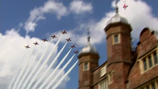 uk government drone strike on british is militants in syria lib / guildford ext red arrows flypast overhead - guildford stock videos and b-roll footage