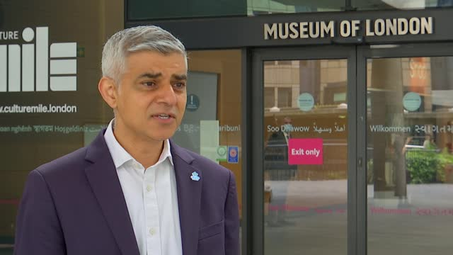 government extends transport for london's emergency funding deal by 10 days; england: london: museum of london: ext sadiq khan interview sot. - we... - arms raised stock videos & royalty-free footage