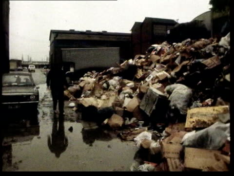 government meets the unions; itn lib 1970s footage winter of discontent footage - rubbish tip/ schools closed sign/ picket at shipyard - winter stock videos & royalty-free footage