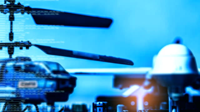 government military technology blurry abstract background, helicopter and drone with computer programming code, concepts of modern military operation. - marina personale militare video stock e b–roll