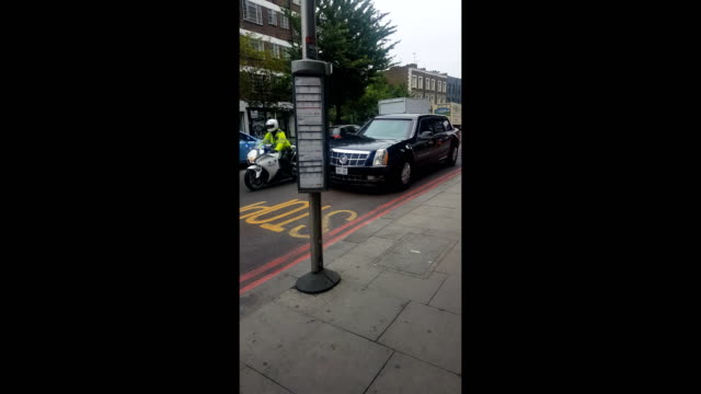 a usa government motorcade was spotted this morning in camden town london a few hours before president trump's visit to the uk shot in camden town... - us president stock videos & royalty-free footage