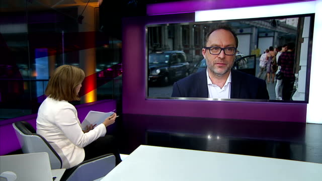 Government officials accused of inaccurate Wikipedia edits ENGLAND London GIR INT Jimmy Wales LIVE interview from Central London SOT