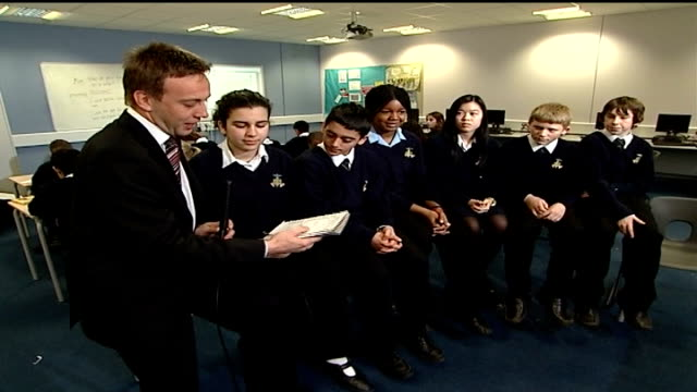 government orders review of curriculum for 1114 year olds england int reporter to camera secondary school children interviewed about their timetables... - physical geography stock videos & royalty-free footage