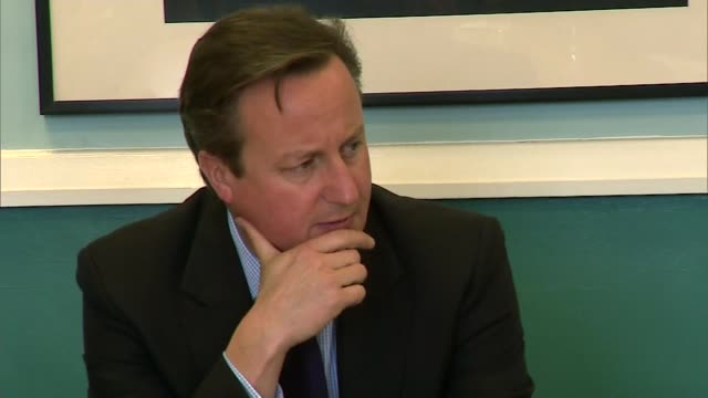 Government plans to combat extremism condemned as 'McCarthyism' ENGLAND Bedfordshire Luton INT Various of David Cameron MP sitting and chatting with...