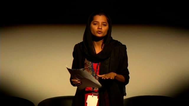 government plans to try to stop practice of female genital mutilation england london int various of young woman speaking to audience at 'girl summit'... - mutilazioni genitali femminili video stock e b–roll