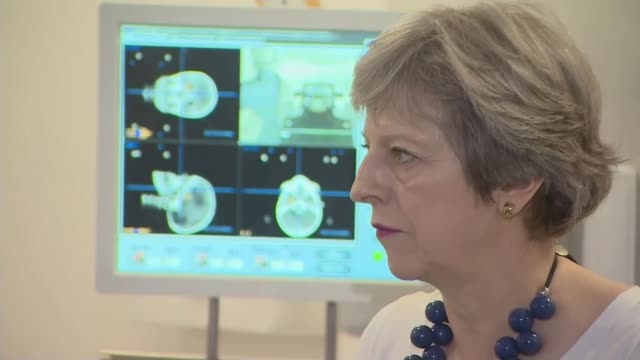 Government pledges 75 million pounds to fighting prostate cancer Cambridgeshire Cambridge Addenbrookes Hospital PHOTOGRAPHY*** Theresa May MP looking...