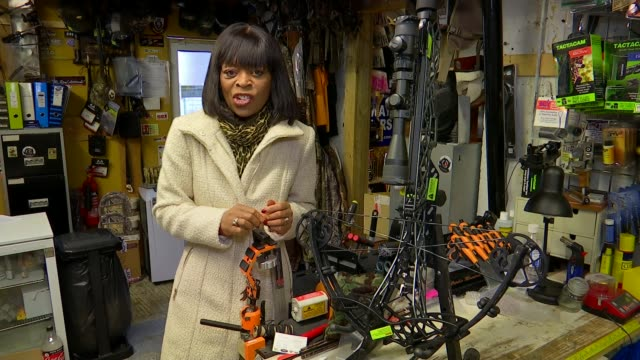Government pledges to review crossbow laws ENGLAND London Battersea DOWN bows and arrows and crossbow on sale in specialist sporting shop Melissa...