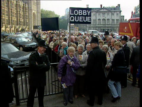 government predicts recovery cf england london westminster ms demos from stevenage with banner cms male pensioner in cap ms long queue of pensioners... - stevenage stock videos and b-roll footage