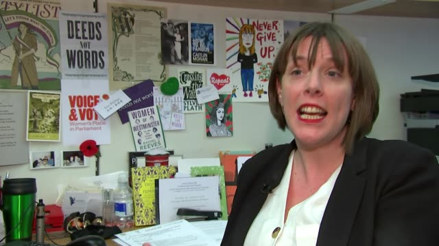 government publishes draft domestic abuse bill uk jess phillips mp interview close shot of jess phillips mp pan to signs and posters on wall... - poster wall stock videos & royalty-free footage